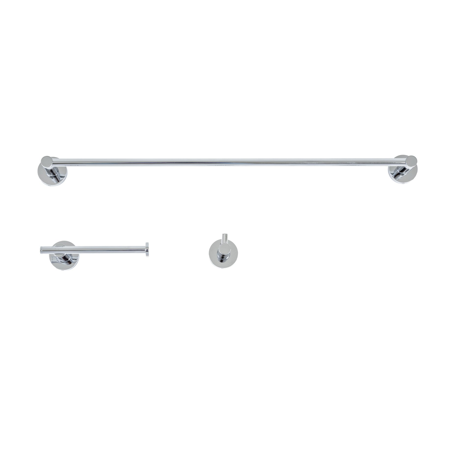 Italia VE3SET Venezia Bathroom Accessory Set (3 Piece), Polished Chrome