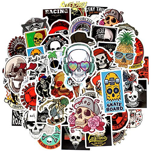 Waterproof Vinyl Stickers for Laptops Computer Helmet Car Decals (50Pcs Punk Skull Style)