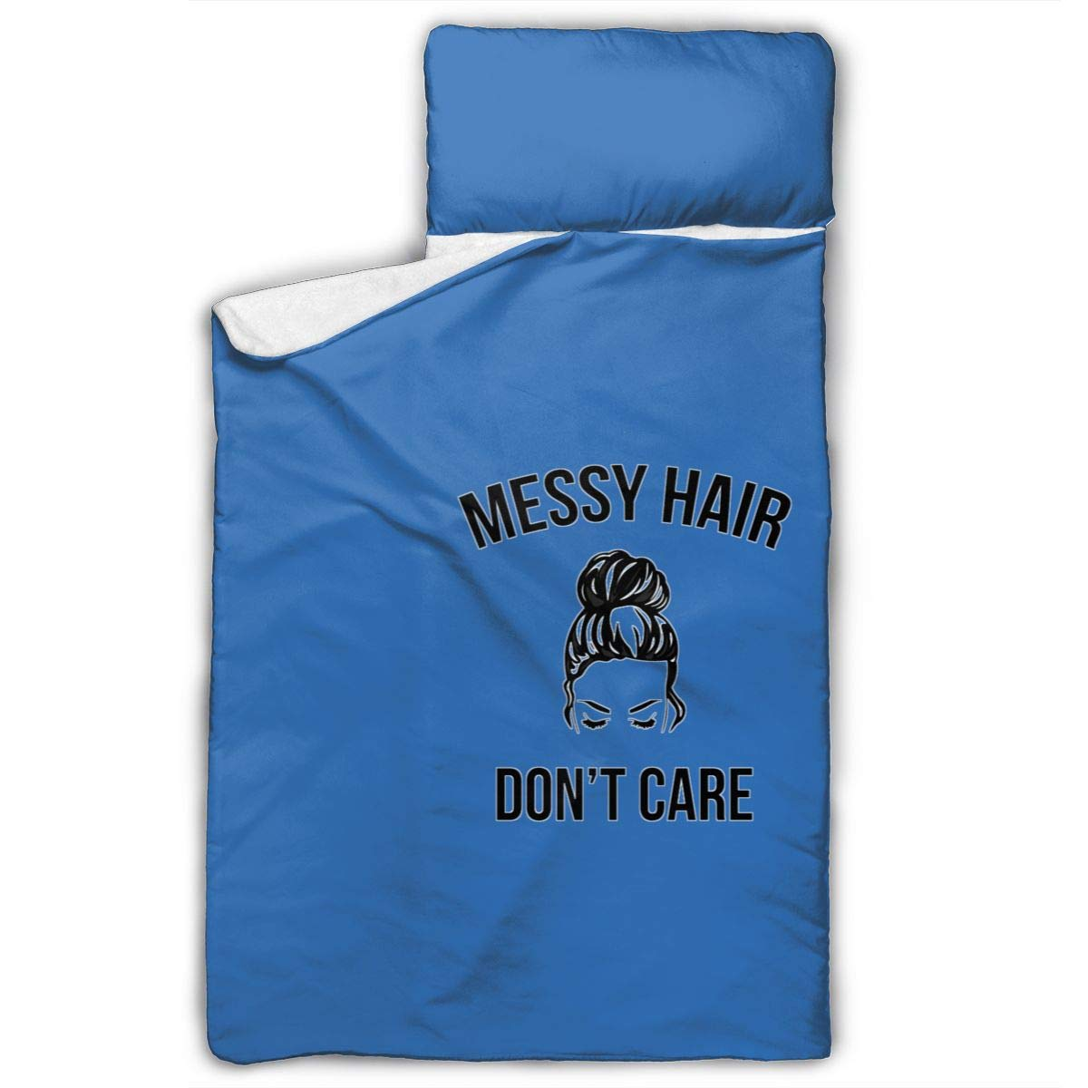 Messy Hair Don't Care Nap Mat with Pillow for Toddler Boys and Girls, Includes Pillow and Blanket Napping at Daycare, Preschool, Or Kindergarten Fits Sleeping Toddlers