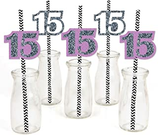 product image for Quinceanera Purple - Sweet 15 - Paper Straw Decor - Birthday Party Striped Decorative Straws - Set of 24