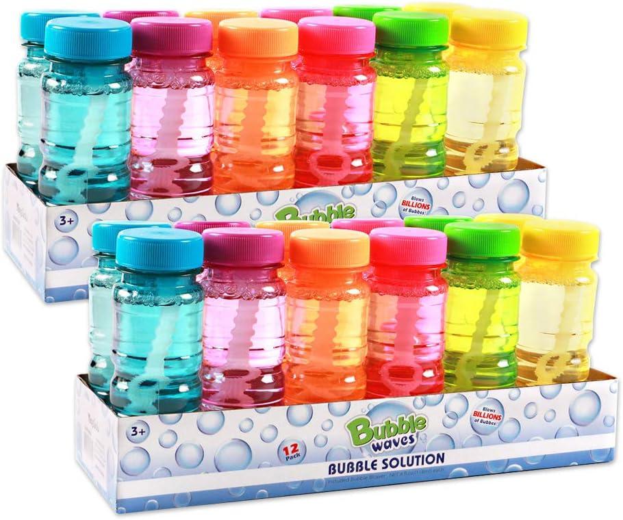 Big Bubble Bottle 24 Pack - 4oz Blow Bubbles Solution Novelty Summer Toy - Activity Party Favor Assorted Colors Set