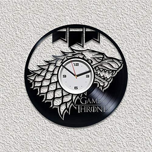 Kovides Game of Thrones Vinyl Wall Clock Jon Snow Vinyl Wall Clock Game of Thrones Wall Clock Modern GoT Wall Clock Large Vinyl Record 12 inch Clock Daenerys Targaryen Gift