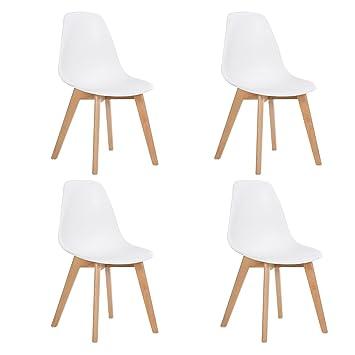 DORAFAIR 4 Sillas de Comedor Modernas Silla de diseño Escandinava Madera de Haya Blanca