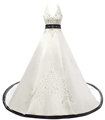 1683096bfa00 RohmBridal Women's Embroidery Satin Halter Wedding Dresses for Bride Ivory  Black Size 0