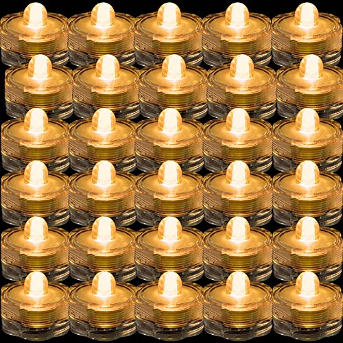 TDLTEK Waterproof submersible Led Lights Tea Lights For Wedding , Party, Decoration (36 Pieces Amber)