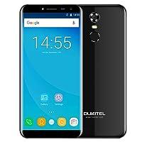 OUKITEL C8 3G Phablet 5.5 pulgadas Pantalla de arco 2.5D Android 7.0 Smartphone MTK6580A 1.3GHz Quad Core 2GB RAM 16GB ROM Cellphone Escáner de huellas dactilares 8.0MP Cámara trasera (Negro)