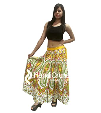 34203b42a HANDMADE EXPORTS Indian 100% Cotton Women Long Skirt Hippie Mandala Rapron  Floral Keri Rajasthani Print Maxi Skirts: Amazon.co.uk: Clothing