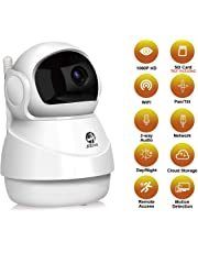 1080P security camera by JOOAN WiFi Home Security Surveillance System Wireless 2MP HD IP Camera for Pet Elder Nanny Baby monitor work with Two Way Audio Night Vision Motion Detection Pan/Tilt Remote Access ( 2019 New Design Broad Field of View Dome Camera)-White