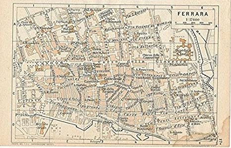 Map Of Northern Italy Cities.Amazon Com Ferrara Northern Italy 1954 Vintage Color Lithograph