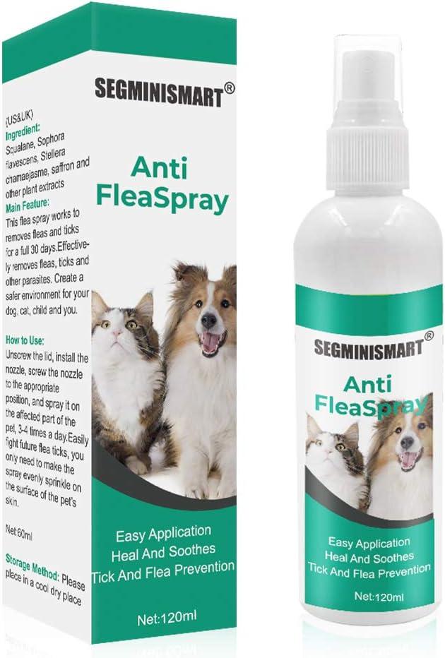 SEGMINISMART Pulgas Spray,Anti Pulgas,Flea Spray,Spray de protección contra pulgas y garrapatas para Perros,Pray Repelente de pulgas de Ingredientes Naturales para Perros Pulgas Garrapatas