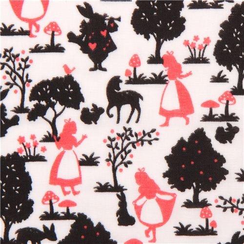lightweight white Alice in Wonderland Kokka gauze fabric (per 0.5 yard multiples)