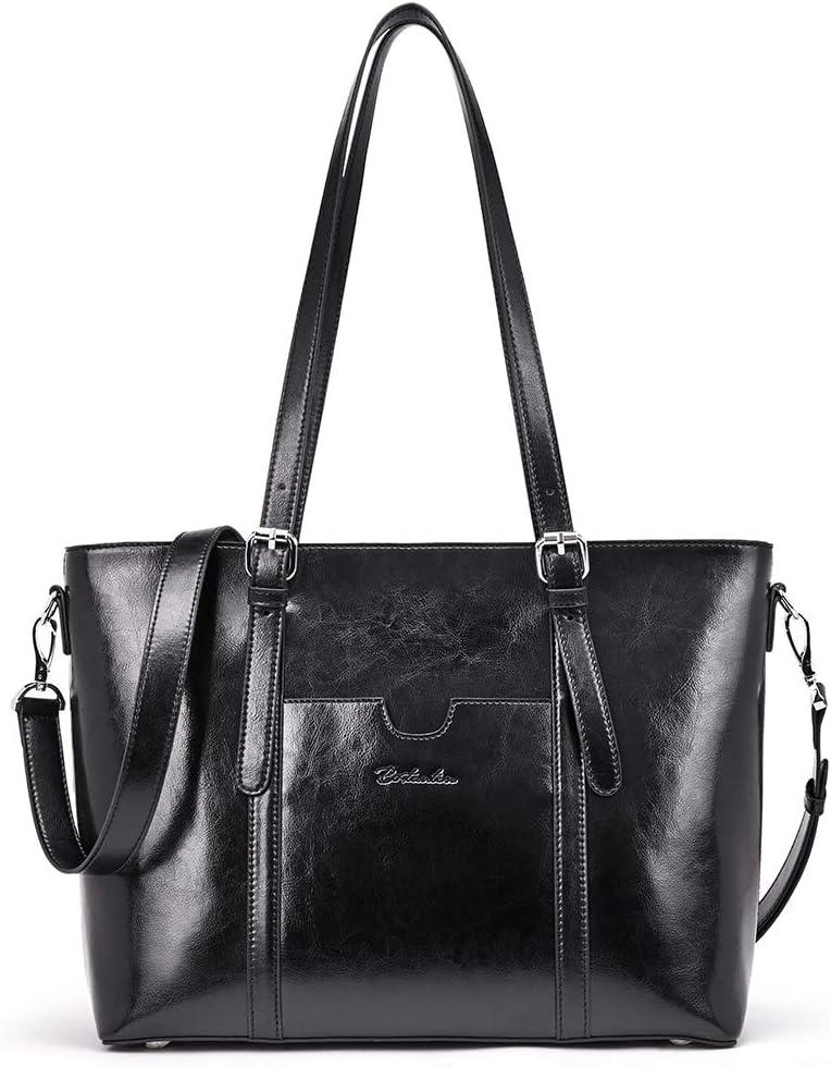 BOSTANTEN Women Leather Laptop Tote Office Shoulder Handbag Vintage Briefcase 15.6 inch Computer Work Purse Black