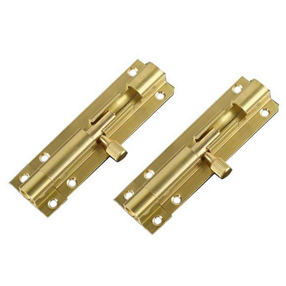 BTMB 2.5 inch Brass Door Latch Sliding Lock Barrel Bolt 2pcs