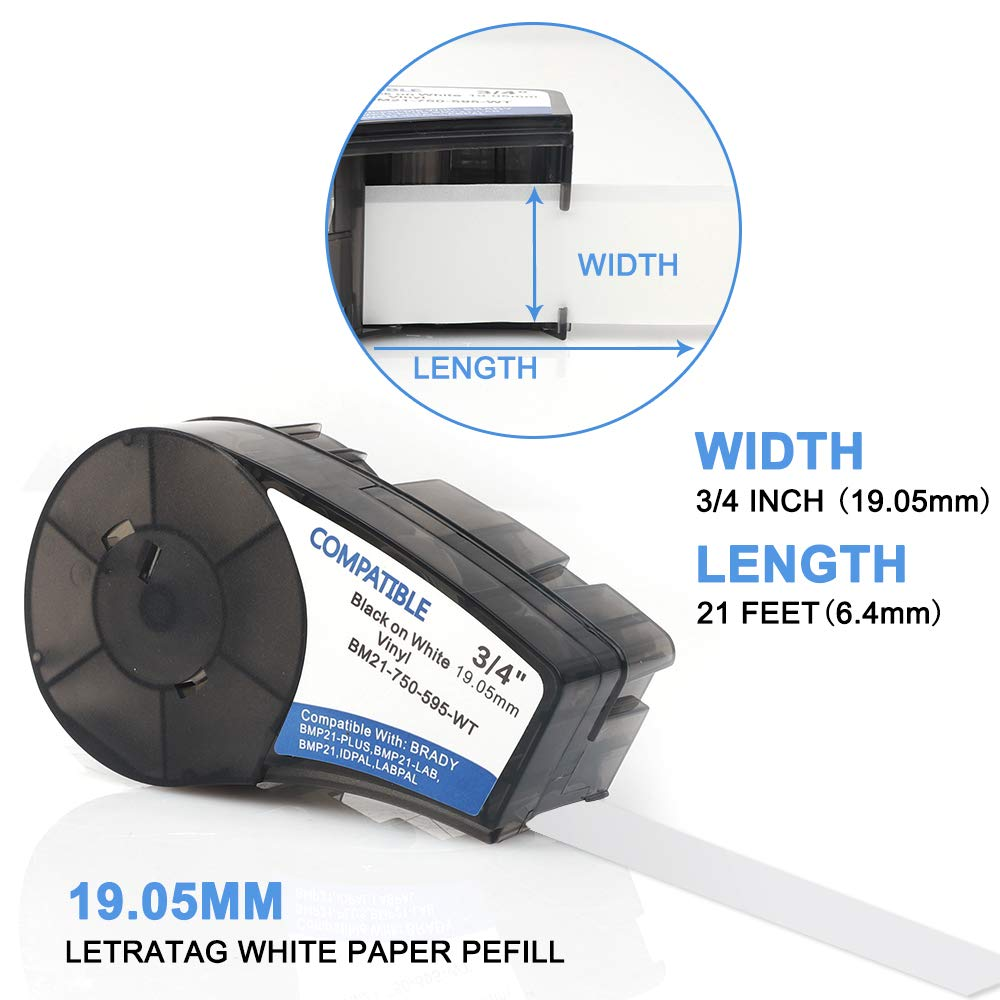 IDPAL Unistar High Adhesion Vinyl Label Tape and LABPAL Label Printers 2 Pack 0.75 x 21 Compatible Brady bmp21-plus Labels White Vinyl Label Tape with BMP21-PLUS M21-750-595-WT