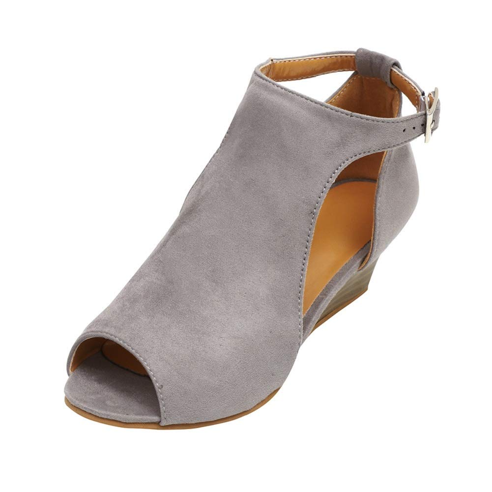 6b4c1cc16c644 Amazon.com  Women Ankle Flats Booties Cutout Open Toe Sandals Buckle Strap Wedges  Shoes by Lowprofile Gray  Clothing