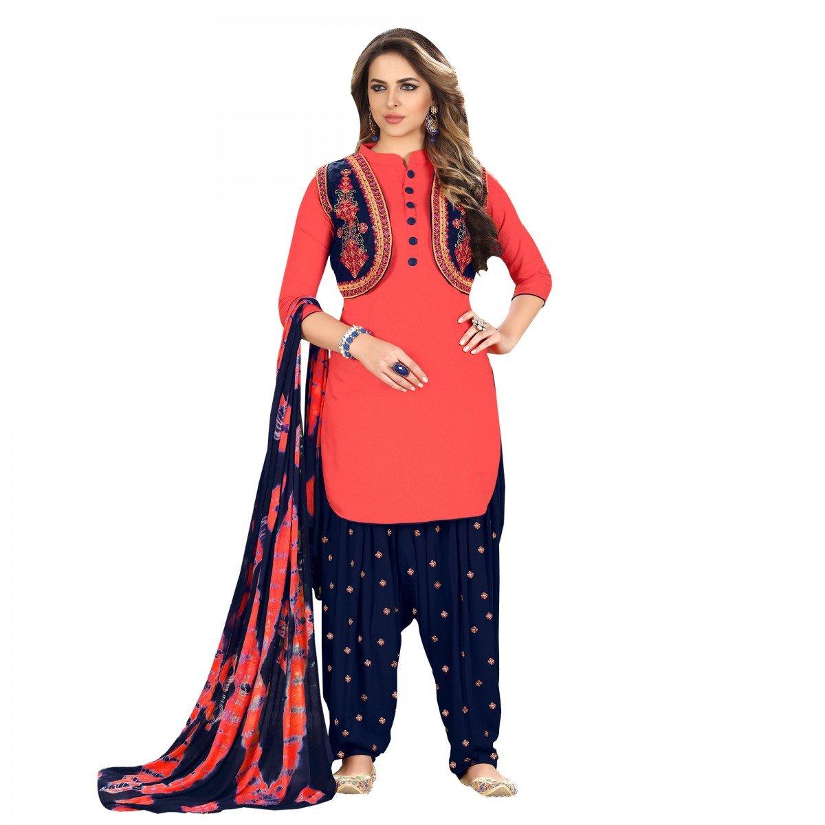 Delisa Ready Made Patiala Salwar Embroidered Cotton Salwar Kameez Suit India/Pakistani Dress (Orange Red, MEDIUM-40)