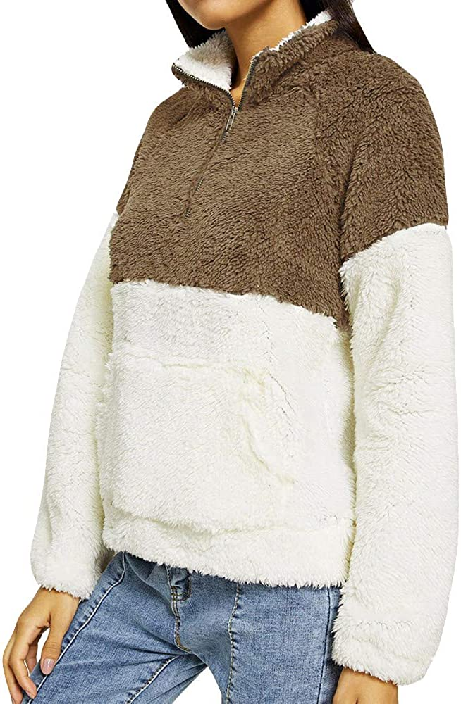 Shakumy Womens Teen Girls Long Sleeve Sherpa Pullover Fleece Hooded Casual Pullover Sweatshirts Tops Loose Warm Hoodies