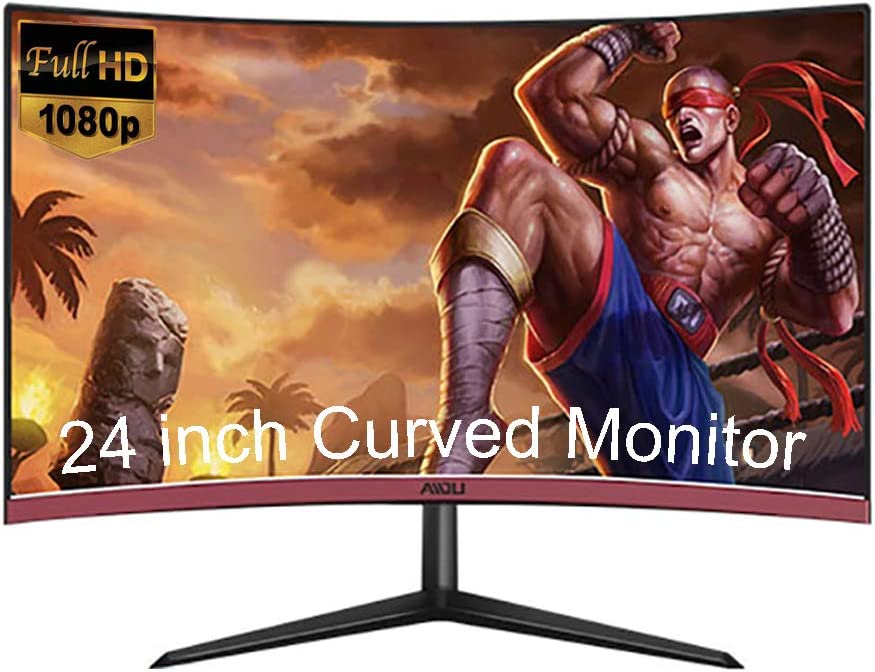 YAOJP 24'' Curved Gaming Monitor, Full HD 1080P Hdmi 75HZ Computer Display Eye Protection Upgrade Wide Viewing Angle Panel, for Laptops, Computer Hosts, PS4, Cameras,Black