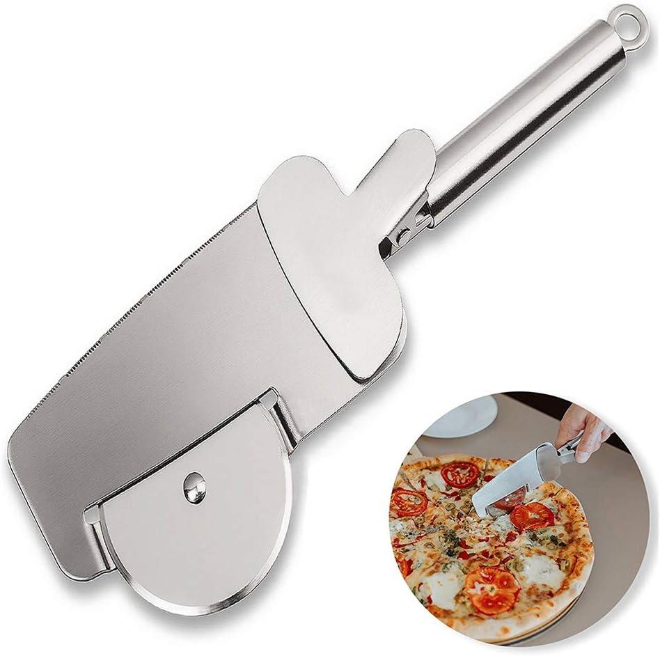 Sinogoods Cortador de Pizza, 4 en 1 Multifuncional Cortapizzas Pizza Cutter con Rueda de Acero Inoxidable, Pala de pizza, Apto para lavavajillas