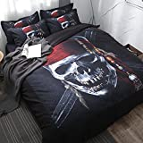 Koongso 3D Pirate Skull with Hat Digital Print Bedding Sets Reversible 3 Pieces Cartoon Duvet Cover Set for Kids Boys Teens,Twin/Full/Queen/King Size