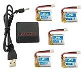 Fytoo 5PCS Batterie Lipo Ricaricabili (3,7V 150mAh Lipo) + Caricabatterie bilanciato 5in1 per Rc Droni Quadricotteri JJRC H36 E010 E011 E013 batteria pezzi di ricambio