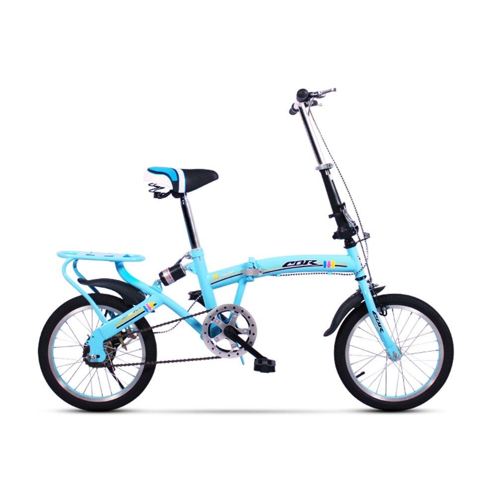 学生折りたたみ自転車, 折りたたみ自転車 レジャー 型ディスク ブレーキ 子 旅行 折り畳み自転車 B07DFF98KV 16inch|青A 青A 16inch