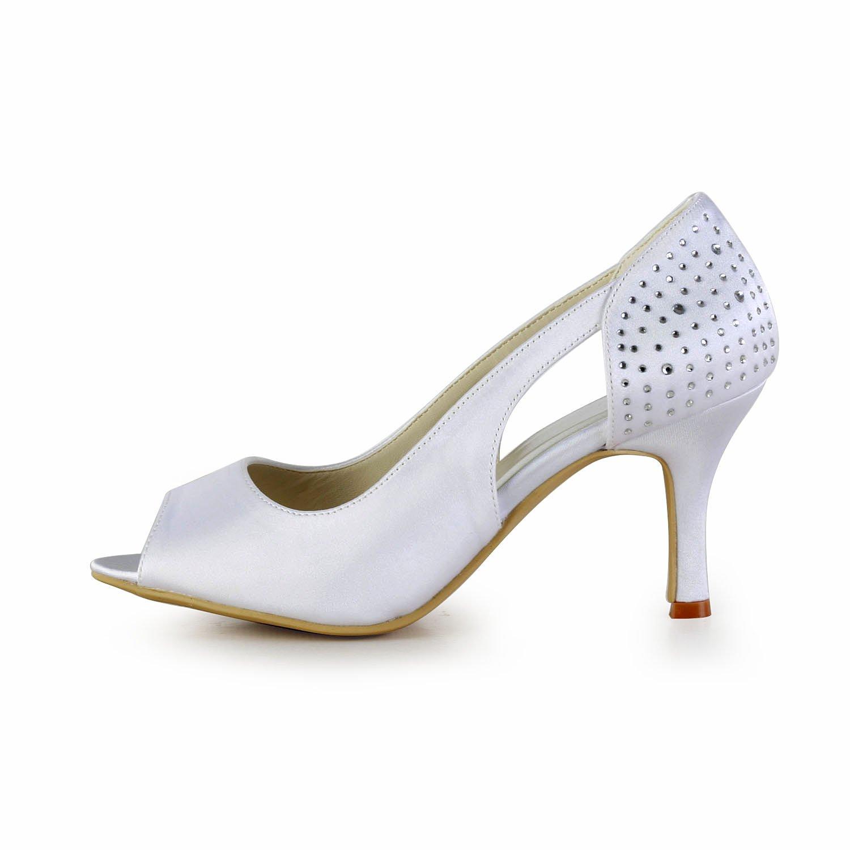 Minishion GYAYL415 GYAYL415 Minishion Womens High Heel Satin Evening Party Bridal Wedding Shoes Sandals 9 B(M) US|White-8cm Heel B073ZDM3PP 2722e7