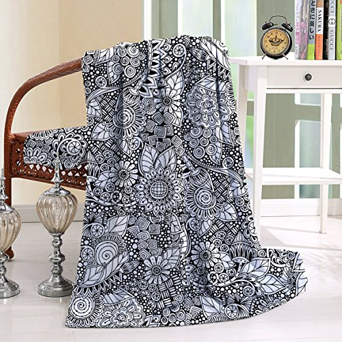 HAIXIA Throw Blanket Doodle Arrangement with Variety of Flowers in Black White Simple