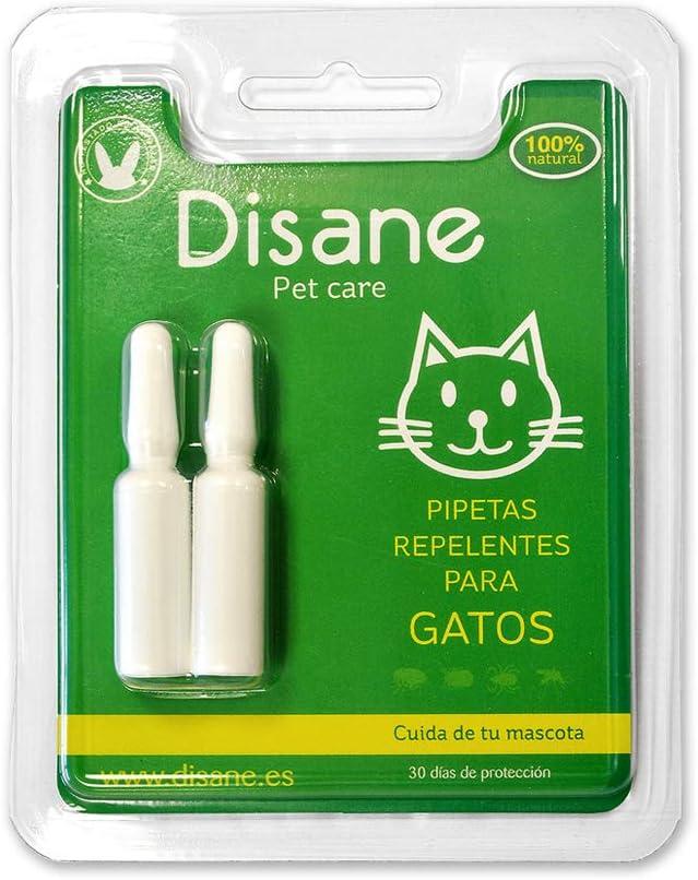 DISANE Pipetas Antiparasitarias para Gatos Naturales | 2 Meses de Protección Antipulgas, Contra Insectos y Parásitos: Pulgas, Garrapatas y Mosquitos | Formuladas Bajo Control Veterinario para el Gato