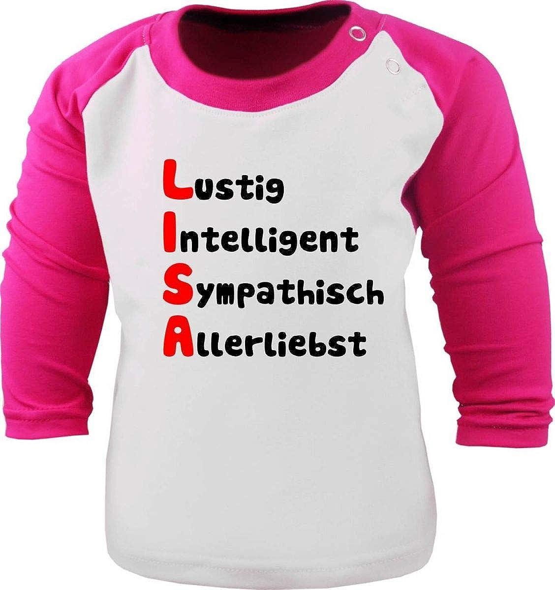 KLEINER FRATZ Baby//Kinder Baseball Langarm T-Shirt mit Namen und Eigenschaften des Kindes