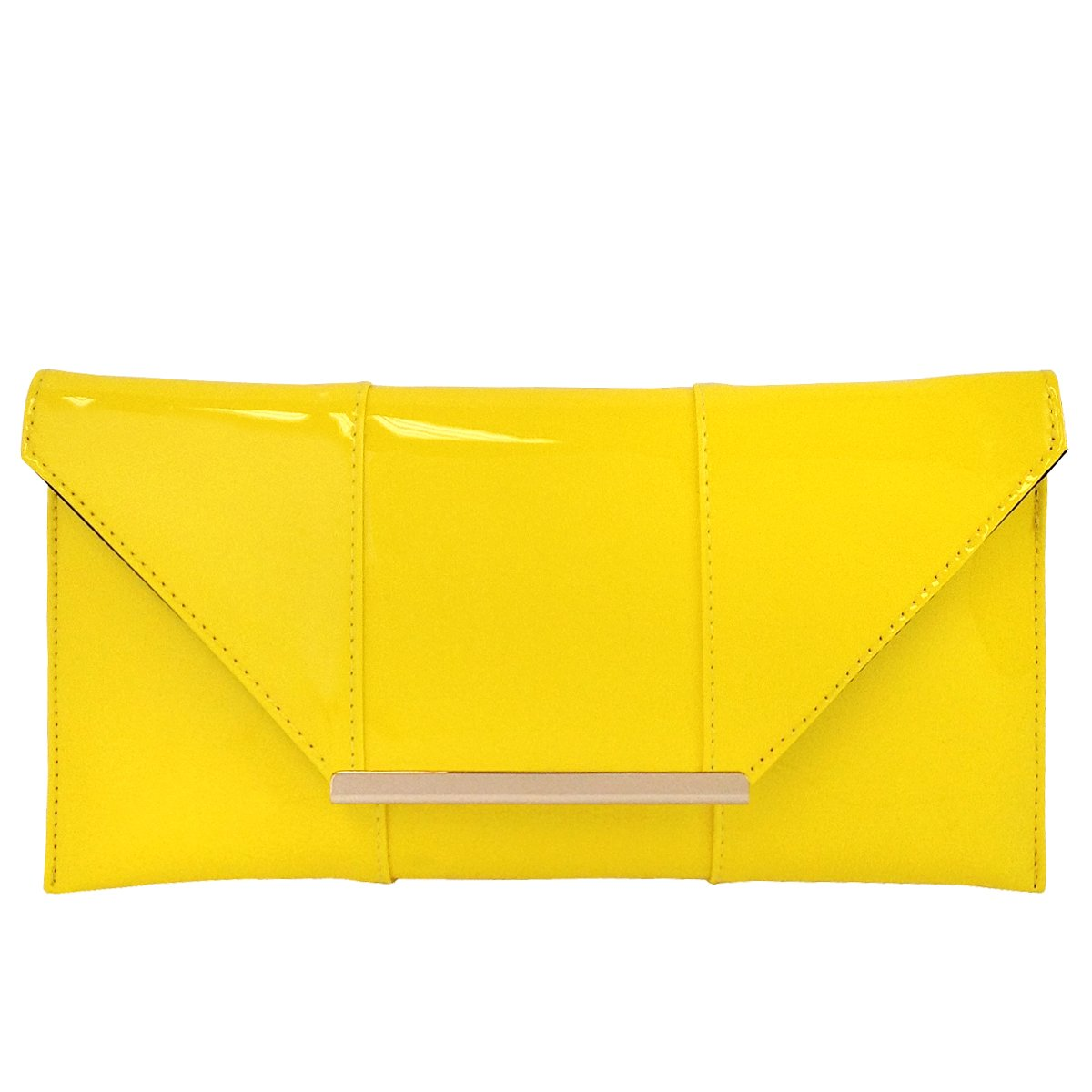 Faux Patent Leather Envelope Candy Clutch, Yellow