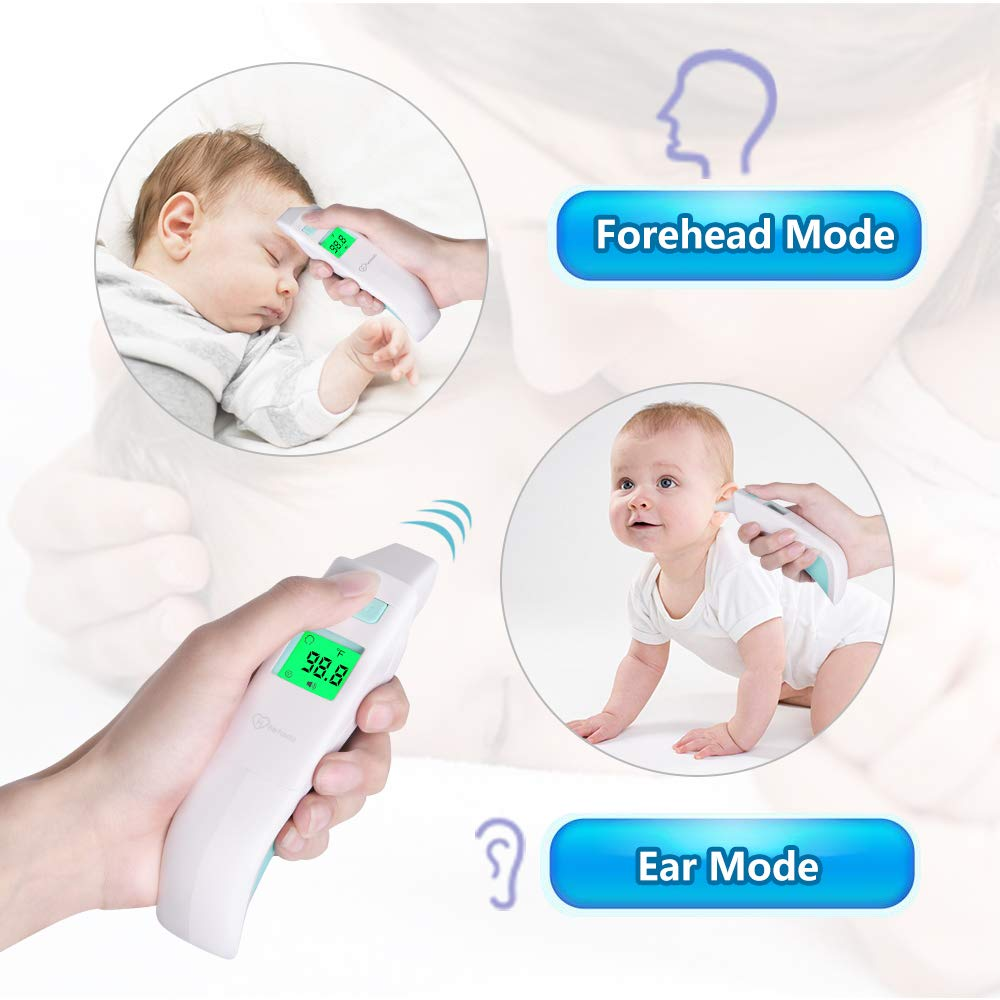No Touch Thermometer with Fever Alarm Ear IR Thermometer for Baby and Kids Forehead Thermometer for Adult Infrared Body Thermometer Gun
