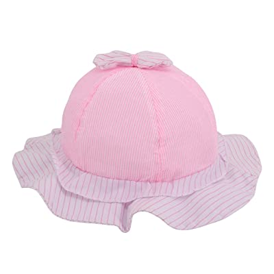 Angelara Unisex Baby Pure Cotton Bowknot Bucket Beach Hat Sun Protection For Baby