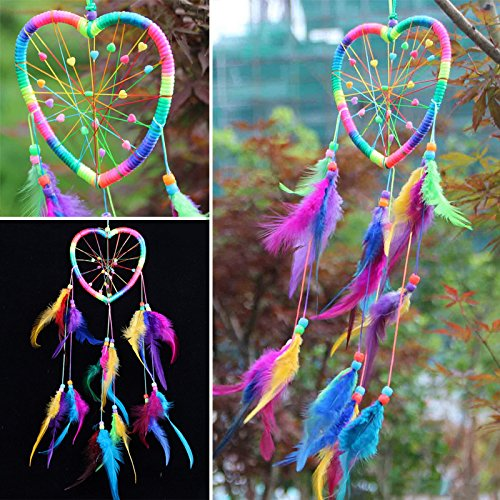 Sedeta Handmade Rainbow Dream Catcher Dreamcatcher Peach Heart Car Door Wall Hanging Home Decoration Bead Feather Peach Heart Car Door Wall Hanging Home Decoration Bead Feathers Ornament DIY Craft Gi