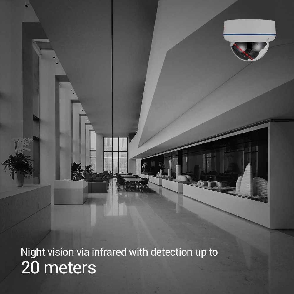 IP Camera,Ctronics WIFI Wireless Security Camera Home Surveillance Dome Camera HD 720P Night Vision,Motion Detect,Email Alert,PC,Phone,Tablet,CMS Remote Review,Night Vision,Up to 128G SD