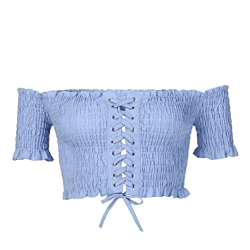 81dbb6d3d337a3 Easytoy Women s Sexy Off Shoulder Crop Tops Strapless Ruffle Drawstring Tie  Front Casual Slim Tees (