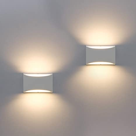half off 20b4b d6588 2 Pack Modern Wall Sconce, Sobrovo Indoor Wall Lights Uplighter Downlighter  Gypsum Plaster Sconce Lighting with 2700K 7W G9 LED Bulbs for Living Room  ...