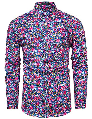 TUNEVUSE Men Floral Dress Shirts Long Sleeve Casual Button Down Shirts 100% Cotton Pink Floral X-Large