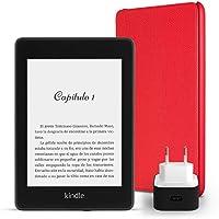 Kit Esencial Kindle Paperwhite, incluye un e-reader Kindle Paperwhite, 8 GB, wifi, con ofertas especiales, una funda Amazon de cuero en color rojo y un adaptador de corriente Amazon PowerFast