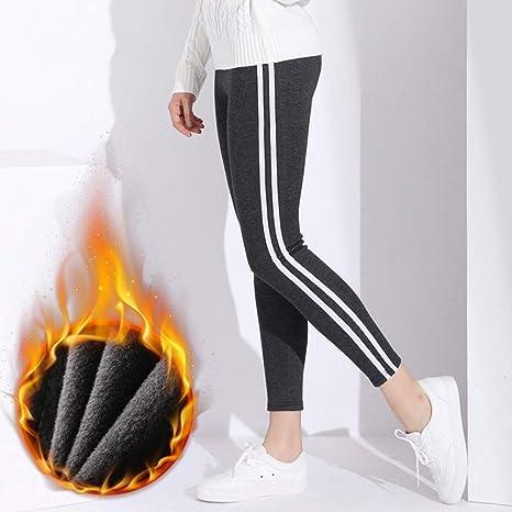 OJJFJ Leotardos Calzas De Mujer Pantalones De Invierno Pantalones De Algodón Cintura Alta Mujer A Rayas Mujer Pantalones De Talla Grande: Amazon.es: Deportes y aire libre