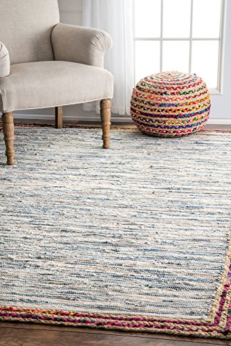 nuLOOM Handwoven Braided Border Denim Rag Area Rugs, 5