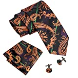 #6: Barry.Wang New Fashion Woven Silk Paisley Tie Set for Men