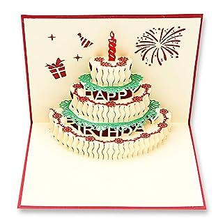 2pezzi Handmade 3D Pop Up Birthday, Gift cartolina di carta da torta, compleanno, fuochi d' artificio, buste display vuoto per bambini donne uomini Birthday