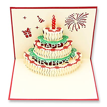 Amazon 2 Pcs Handmade 3d Birthday Card Pop Up Gift Card Paper