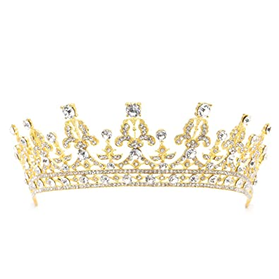 Amazon Com Deboc Wedding Bridal Gold Plated Rhinestone Crown Tiara