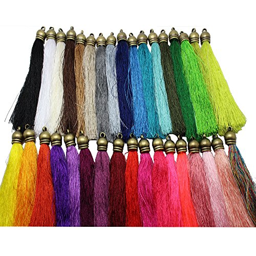 34pcs/lot 105mm(4.5'') Multi-Colors Long Silk Tassels with Bronze caps DIY Craft Supplies Jewelry Tassel Fringe Trim (Tassel Silk)