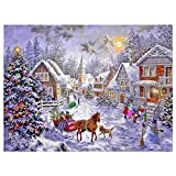 M-Aimee 5D DIY Diamond Painting Full Square Drill Christmas Hut Rhinestone Embroidery for Wall Decoration 12X16 inches