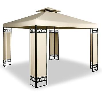Garden Gazebo Metal With Steel Frame Marquee 3x3m Garden Canopy Awning Tent  Cream Beige