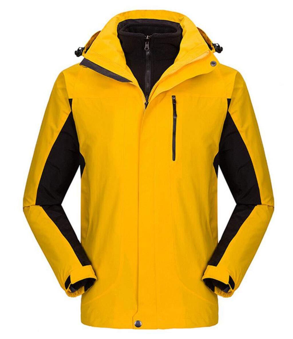 DAFREW Männer Wasserdichte Jacke, Herbst Und Winter Warme Bergsteigen Kleidung Berg Ski Wear Fleece (Farbe : Gelb, größe : XL)