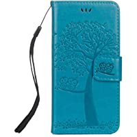 Bear Village® Case for Apple iPhone X/Xs, Wallet Case PU Leather iPhone X Xs Flip Cover, Silicone Back Magnetic Stand Embossing PU Case (#2 Blue)